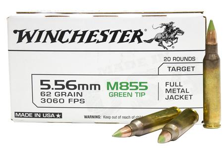 Winchester 5.56mm NATO 62 gr FMJ M855 Green Tip Lake City 20/Box