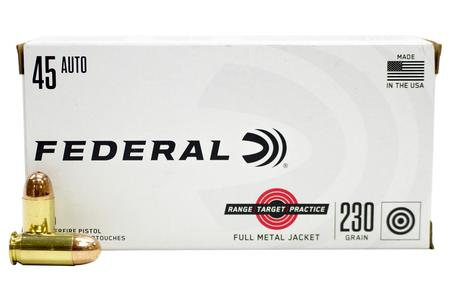 Federal 45 ACP 230 gr FMJ Range and Target 50/Box