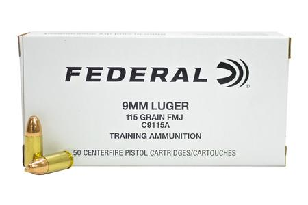 Federal 9mm 115 gr FMJ Training Ammunition 50/Box