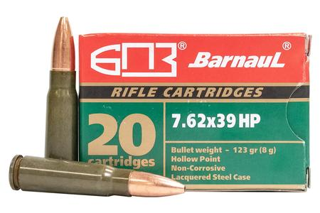 BARNAUL 7.62x39mm 123 gr HP Lacquered Steel 500 Round Case