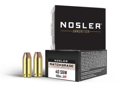 Nosler 40SW 150 gr JHP Match Grade Ammo 20/Box