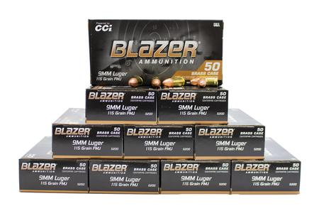 CCI 9mm 115 gr FMJ Blazer Brass 500 Rounds