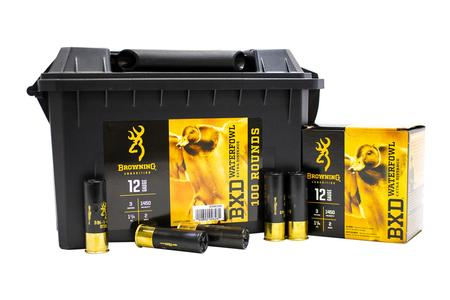 BROWNING AMMUNITION 12 Gauge 3 in 1-1/4 oz 2 Shot BDX Waterfowl Extra Distance 100 Rounds in Ammo Can