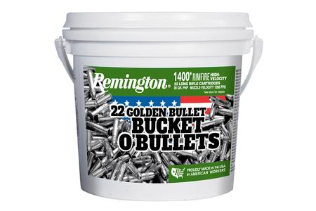Remington 22 LR 36 gr Golden Bullet High Velocity HP 1400/Bucket