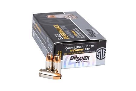 Sig Sauer 9mm Luger 115 gr JHP Elite V-Crown 50/Box