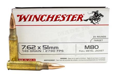 WINCHESTER AMMO 7.62x51mm 149 gr FMJ Lead Core M80 20/Box