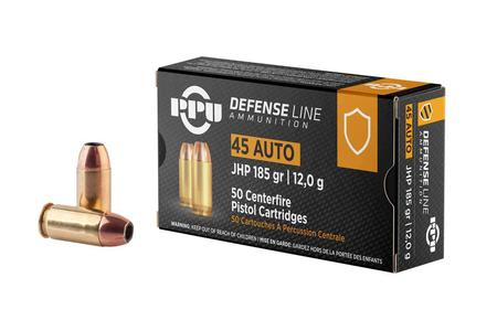 Ppu 45 ACP 185 gr JHP Defense Line 50/Box
