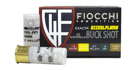 Fiocchi 12 Gauge 2-3/4 in 27 Pellet 4 Buck Exacta Nickel Plated Buckshot 10/Box