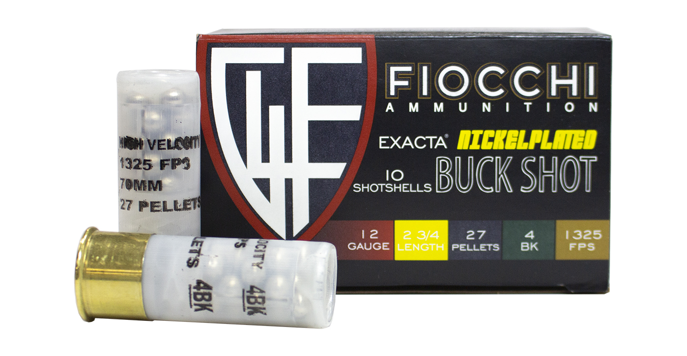 12 GA 2.75 IN 27 PELLET 4 BUCK SHOT EXACTA NICKEL PLATED 10/BOX