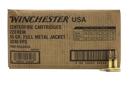 WINCHESTER AMMO 223 Rem 55 gr FMJ USA Loose 1000 Round Case