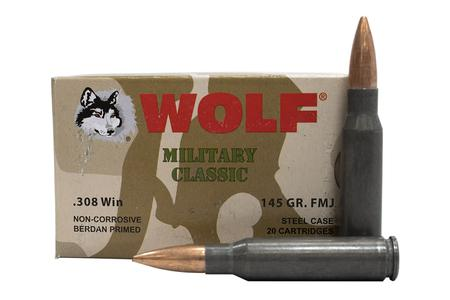 Wolf Ammo 308 Win 145 gr FMJ Steel Case Military Classic 20/Box