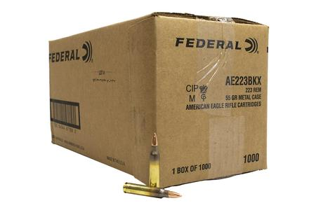 FEDERAL AMMUNITION 223 Rem 55gr FMJ BT American Eagle Loose 1000 Round Case