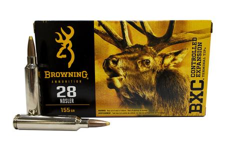 Browning 28 Nosler 155 gr Terminal Tipped and Bonded BXC 20/Box