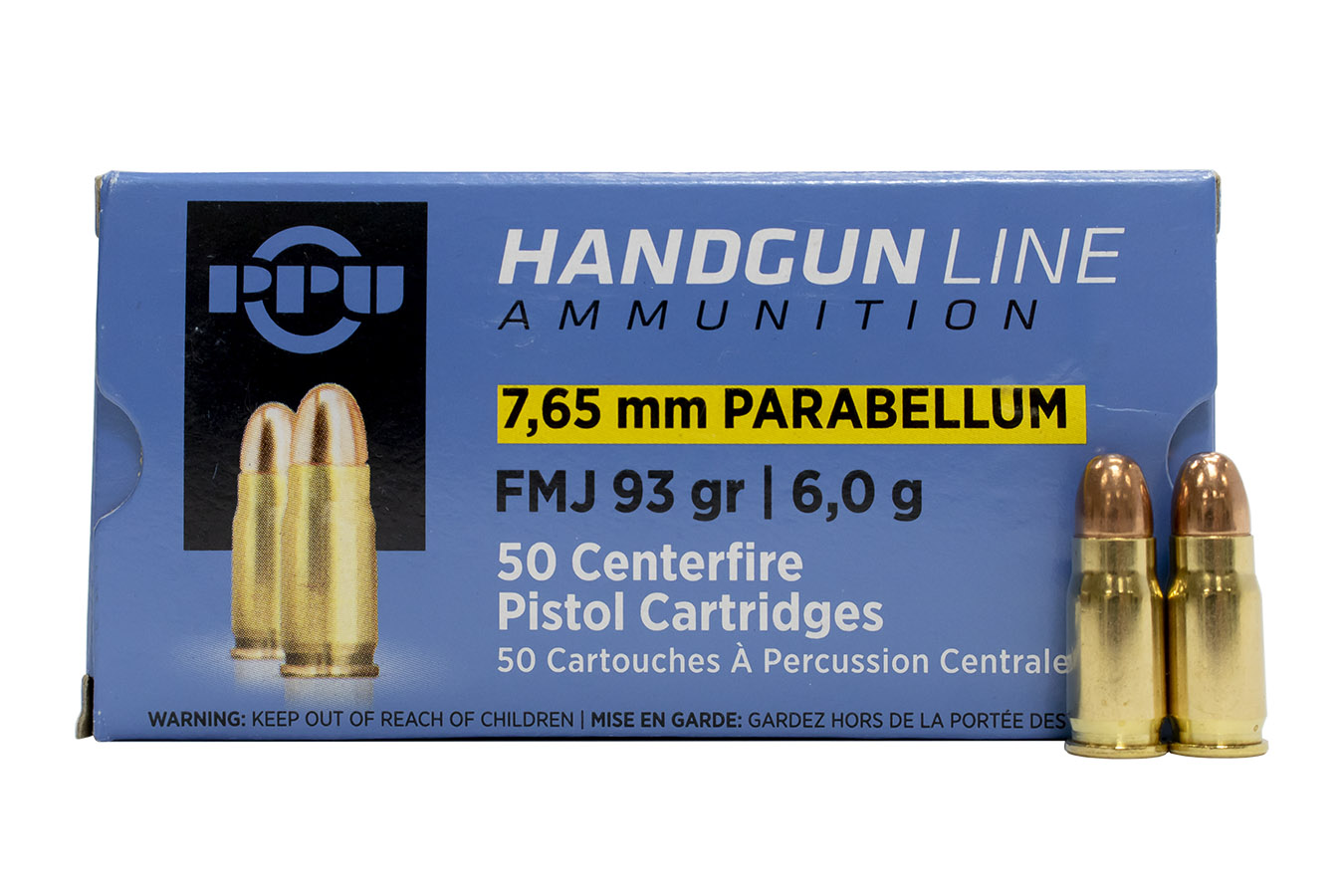 7.65MM PARABELLUM 93 GR FMJ 50/BOX