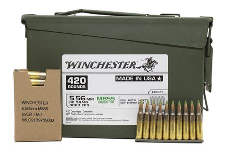 Winchester 5.56mm M855 Green Tip 62 gr FMJ Stripper Clip 420/Can