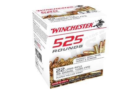 Winchester 22 LR 36 gr Copper Plated HP 525/Box