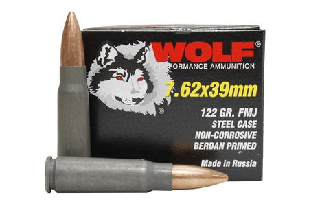 WOLF AMMO 7.62x39mm 122 gr FMJ Steel Case 20/Box