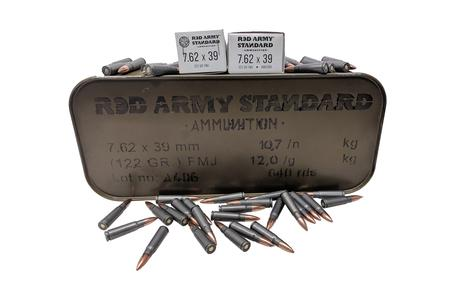 Red Army Standard 7.62X39 122 gr FMJ 640 Rounds in Tin Can