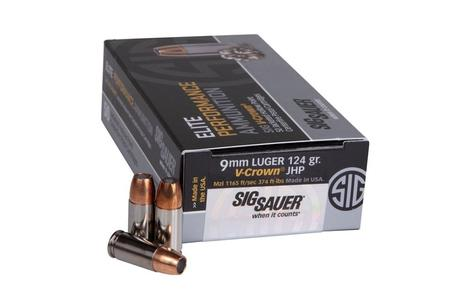 SIG SAUER 9MM LUGER 124 GR JACKETED HOLLOW POINT V-CROWN 50/BOX