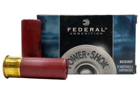 FEDERAL AMMUNITION 12 Gauge 2 3/4 00 Buck Shot Power Shok Police Trade Ammo 5/Box