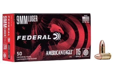 Federal 9mm Luger 115 gr FMJ American Eagle  50/Box