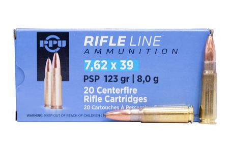 Ppu 7.62x39mm 123 gr Pointed Soft Point (PSP) 20/Box