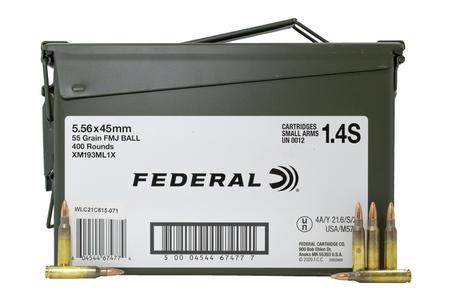 Federal 5.56mm NATO 55 gr FMJ Ball XM193 400 Rounds in Ammo Can