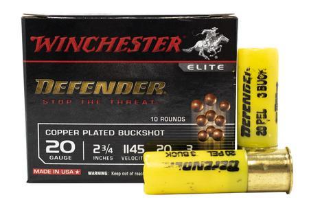 Winchester 20 Gauge 2-3/4 in 20 Pellet 3 Buck Elite Defender Buckshot 10/Box