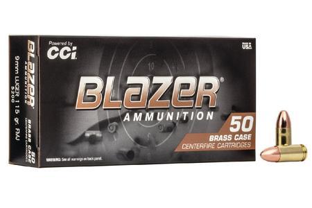 CCI 9mm 115 gr FMJ Blazer Brass 50/Box