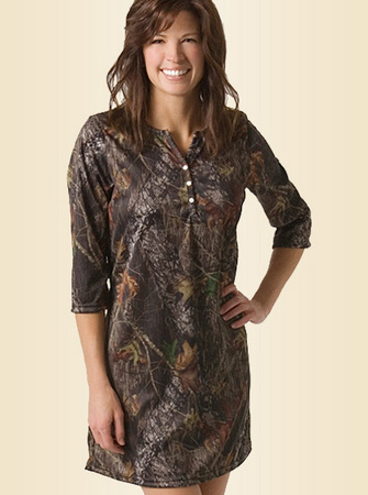 WOMENS CAMO HENLEY NIGHT SHIRT