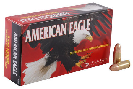 FEDERAL AMMUNITION 9mm Luger 115 gr FMJ American Eagle  50/Box