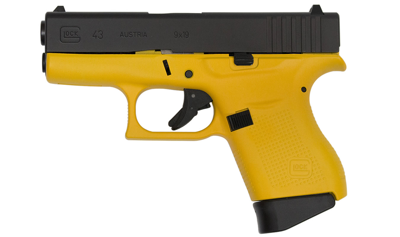 glock 43 9mm singlestack pistol with yellow cerakote
