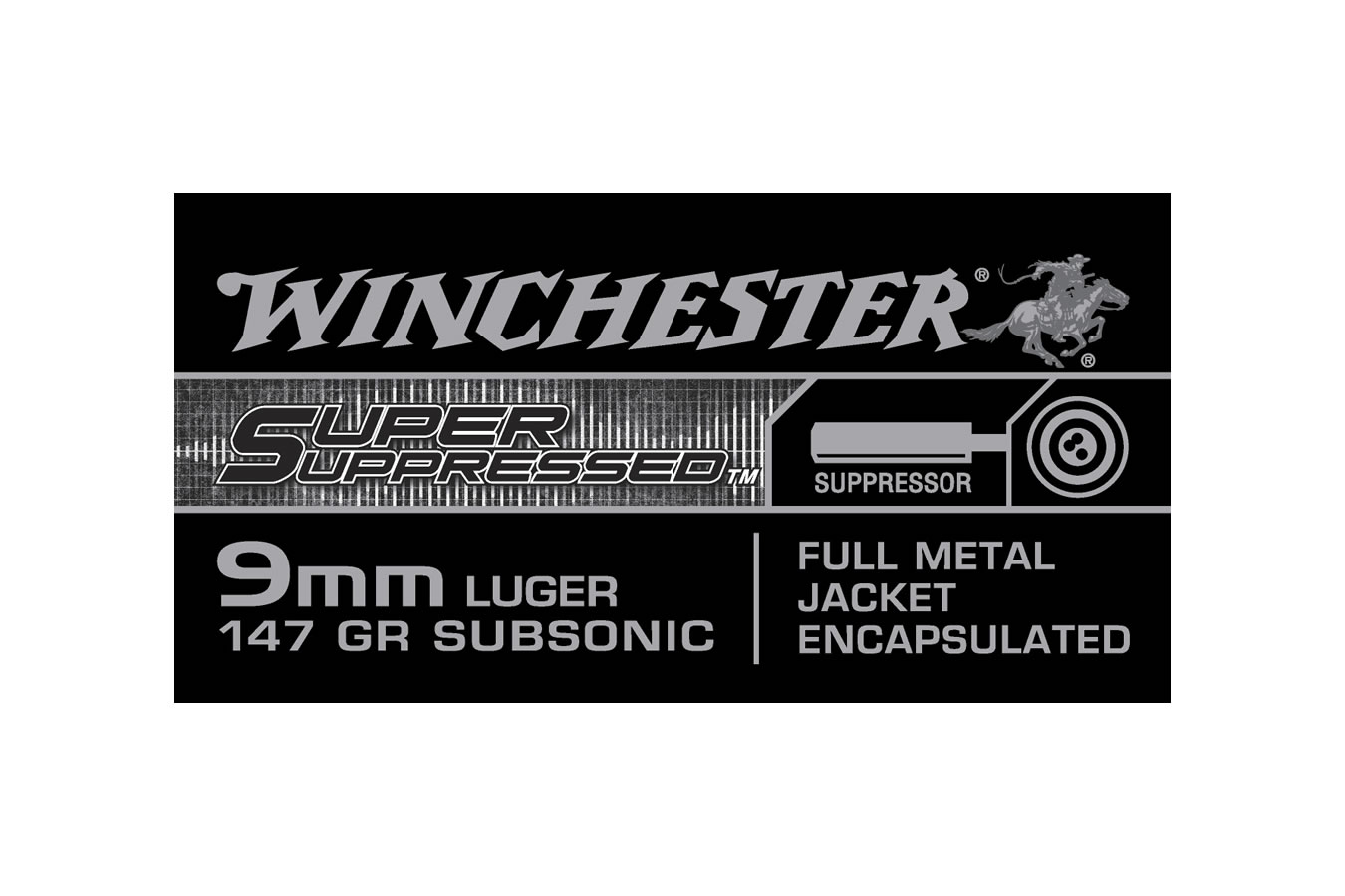 9mm Luger 147 gr FMJ-Encapsulated Super Suppressed 50/Box