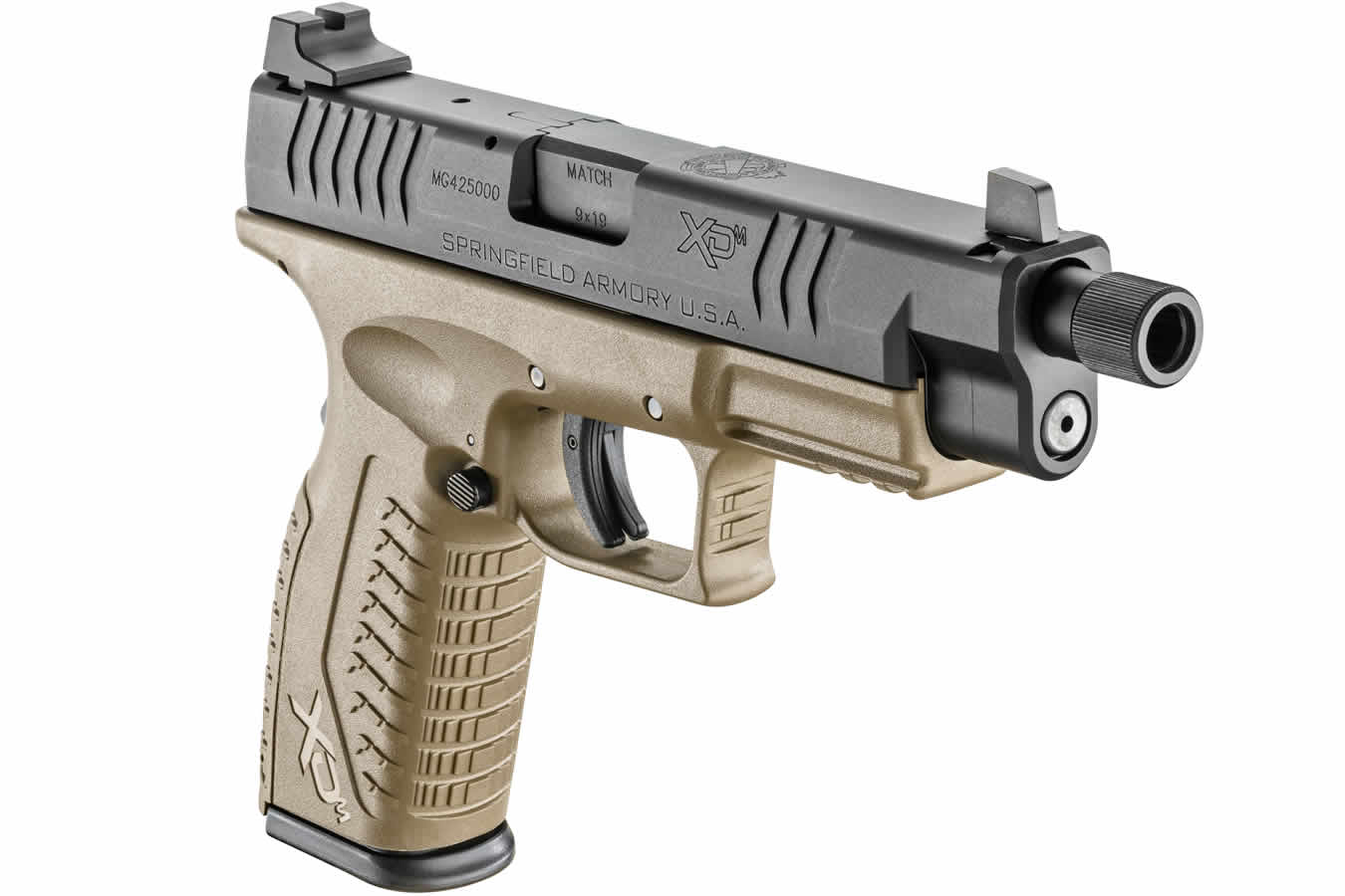 XDM 9mm 4 5 FDE Essentials Package with Threaded Barrel